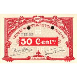 Orléans - Loiret - Pirot 95-10 - 50 centimes - 1916 - Spécimen - Etat : pr.NEUF