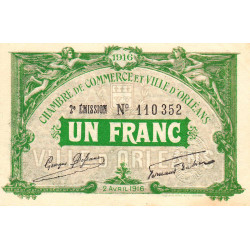 Orléans - Loiret - Pirot 95-12 - 1 franc - 1916 - Etat : SPL