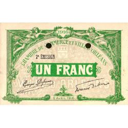 Orléans - Loiret - Pirot 95-14 - 1 franc - 1916 - Spécimen - Etat : SUP+ à SPL