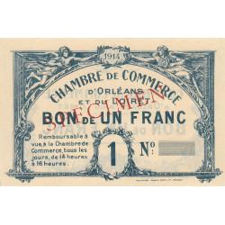 Orléans - Loiret - Pirot 95-2b - 1 franc - 1914 - Spécimen - Etat : pr.NEUF