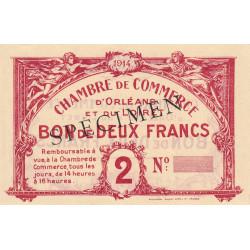 Orléans - Loiret - Pirot 95-3b - 2 francs - 1914 - Spécimen - Etat : SUP+