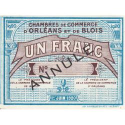 Orléans et Blois - Pirot 96-4c - 1 franc - Annulé - 01/06/1920 - Etat : SUP+