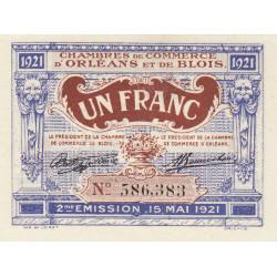 Orléans et Blois - Pirot 96-7 - 1 franc - 15/05/1921 - 2me émission - Etat : NEUF