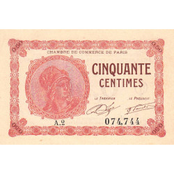 Paris - Pirot 97-10 - 50 centimes - Série A.2 - 10/03/1920 - Etat : NEUF