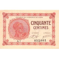 Paris - Pirot 97-10 - 50 centimes - Série A.7 - 10/03/1920 - Etat : SUP+
