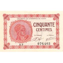 Paris - Pirot 97-10 - 50 centimes - Série A.8 - 10/03/1920 - Etat : SUP+ à SPL