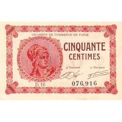 Paris - Pirot 97-10 - 50 centimes - Série D.16 - 10/03/1920 - Etat : SUP+