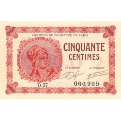 Paris - Pirot 97-10 - 50 centimes - Série D.27 - 10/03/1920 - Etat : TTB+