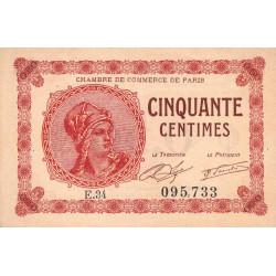 Paris - Pirot 97-10 - 50 centimes - Série E.34 - 10/03/1920 - Etat : TTB+