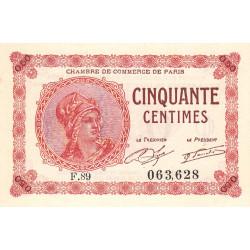 Paris - Pirot 97-10 - 50 centimes - Série F.89 - 10/03/1920 - Etat : SPL