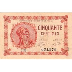 Paris - Pirot 97-10 - 50 centimes - Série J.29 - 10/03/1920 - Etat : TB+