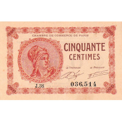 Paris - Pirot 97-10 - 50 centimes - Série J.38 - 10/03/1920 - Etat : pr.NEUF