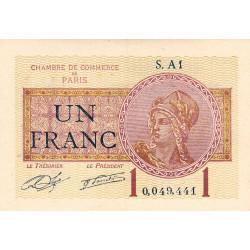 Paris - Pirot 97-23 - 1 franc - Série A1 - 10/03/1920 - Etat : SUP+