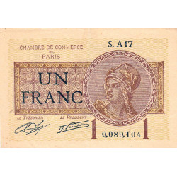 Paris - Pirot 97-23 - 1 franc - Série A17 - 10/03/1920 - Etat : TTB+