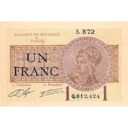 Paris - Pirot 97-23 - 1 franc - Série B72 - 10/03/1920 - Etat : NEUF
