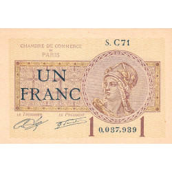 Paris - Pirot 97-23 - 1 franc - Série C71 - 10/03/1920 - Etat : SUP