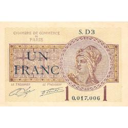 Paris - Pirot 97-23 - 1 franc - Série D3 - 10/03/1920 - Etat : SPL
