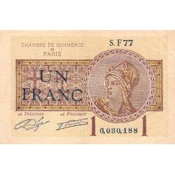 Paris - Pirot 97-23 - 1 franc - Série F77 - 10/03/1920 - Etat : TB+