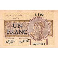 Paris - Pirot 97-23 - 1 franc - Série F92 - 10/03/1920 - Etat : TB