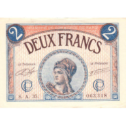 Paris - Pirot 97-28b - 2 francs - Série A.35. - 10/03/1920 - Etat : SUP