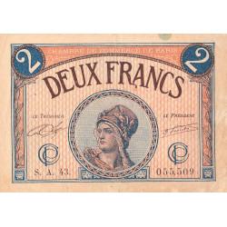 Paris - Pirot 97-28b - 2 francs - Série A.43 - 10/03/1920 - Etat : TB