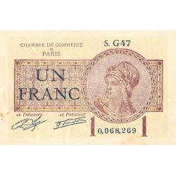 Paris - Pirot 97-23 - 1 franc - Série G47 - 10/03/1920 - Etat : TTB-