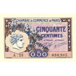 Paris - Pirot 97-31 - 50 centimes - Série A.23 - 10/03/1920 - Etat : SPL