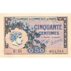 Paris - Pirot 97-31 - 50 centimes - Série B.45 - 10/03/1920 - Etat : SPL
