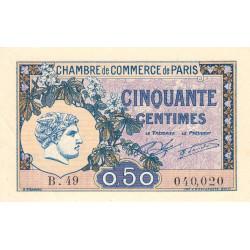 Paris - Pirot 97-31 - 50 centimes - Série B.49 - 10/03/1920 - Etat : SUP