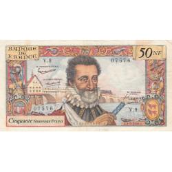 F 58-01 - 05/03/1959 - 50 nouv. francs - Henri IV - Série V.9 - Etat : TB+