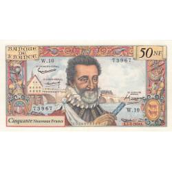 F 58-01 - 05/03/1959 - 50 nouv. francs - Henri IV - Série W.10 - Remplacement - Etat : SUP à SUP+
