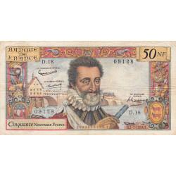 F 58-02 - 02/07/1959 - 50 nouv. francs - Henri IV - Série D.18 - Etat : TB