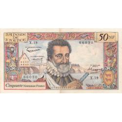 F 58-02 - 02/07/1959 - 50 nouv. francs - Henri IV - Série X.19 - Etat : TB+