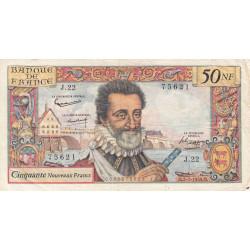 F 58-02 - 02/07/1959 - 50 nouv. francs - Henri IV - Série J.22 - Etat : TB+