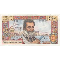 F 58-02 - 02/07/1959 - 50 nouv. francs - Henri IV - Série K.22 - Etat : TTB