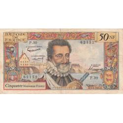 F 58-03 - 03/09/1959 - 50 nouv. francs - Henri IV - Série P.30 - Etat : TB-