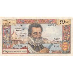 F 58-04 - 05/11/1959 - 50 nouv. francs - Henri IV - Série U.36 - Etat : TB