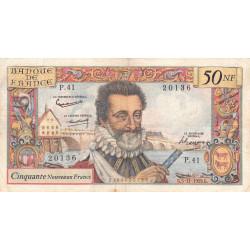 F 58-04 - 05/11/1959 - 50 nouv. francs - Henri IV - Série P.41 - Etat : TB