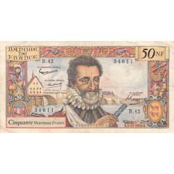 F 58-04 - 05/11/1959 - 50 nouv. francs - Henri IV - Série B.42 - Etat : TB