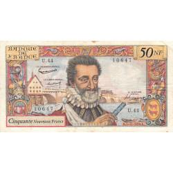 F 58-04 - 05/11/1959 - 50 nouv. francs - Henri IV - Série U.44 - Etat : TB+