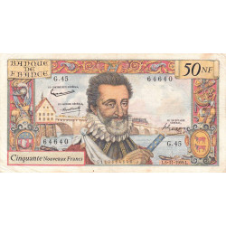 F 58-04 - 05/11/1959 - 50 nouv. francs - Henri IV - Série G.45 - Etat : TB+