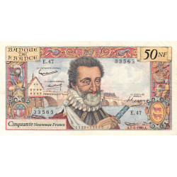 F 58-05 - 07/04/1960 - 50 nouv. francs - Henri IV - Série E.47 - Etat : TTB