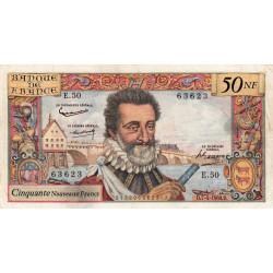 F 58-05 - 07/04/1960 - 50 nouv. francs - Henri IV - Série E.50 - Etat : TTB