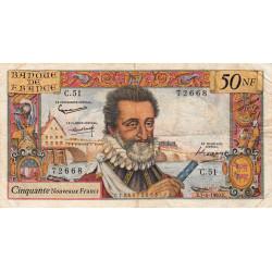 F 58-05 - 07/04/1960 - 50 nouv. francs - Henri IV - Série C.51 - Etat : TB