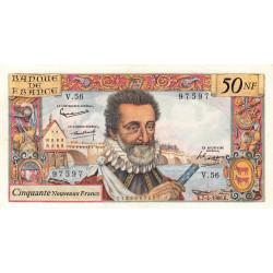 F 58-05 - 07/04/1960 - 50 nouv. francs - Henri IV - Série V.56 - Etat : TTB+