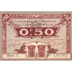 Caen / Honfleur - Pirot 34-20-C - 50 centimes - 1920 - Etat : SUP+