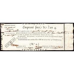 Gers - Villecomtal - Révolution - Emprunt forcé de l'an IV - 1795 - 80 francs - Etat : SUP