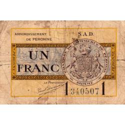 Péronne - Pirot 99-4a - 1 franc - Série S.A.D. - 18/10/1921 - Etat : B