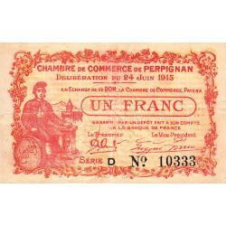 Perpignan - Pirot 100-7 - 1 franc - Série D - 24/06/1915 - Etat : SUP