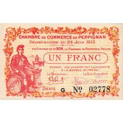 Perpignan - Pirot 100-7 - 1 franc - Série G - 24/06/1915 - Etat : SUP